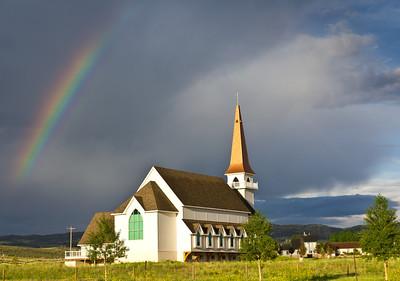 Laramie Valley Chapel, Laramie, Wyoming. July 2011. The steeple is bronze shingled.